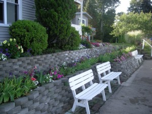retaining wall with benches portland oregon