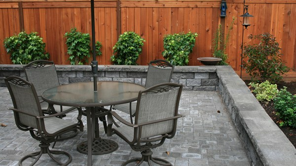 retaining wall with patio